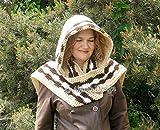 Crocheted Hooded Scarf - Beige Scarf - Adult Woman Ladies