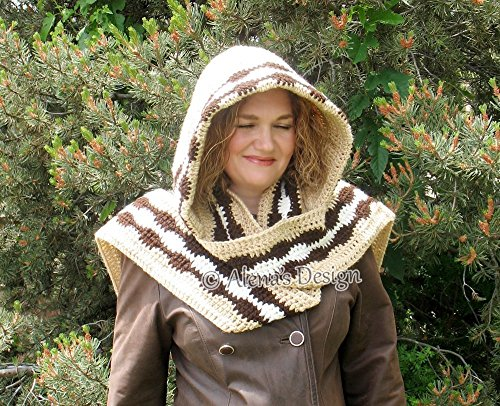Crocheted Hooded Scarf - Beige Scarf - Adult Woman Ladies