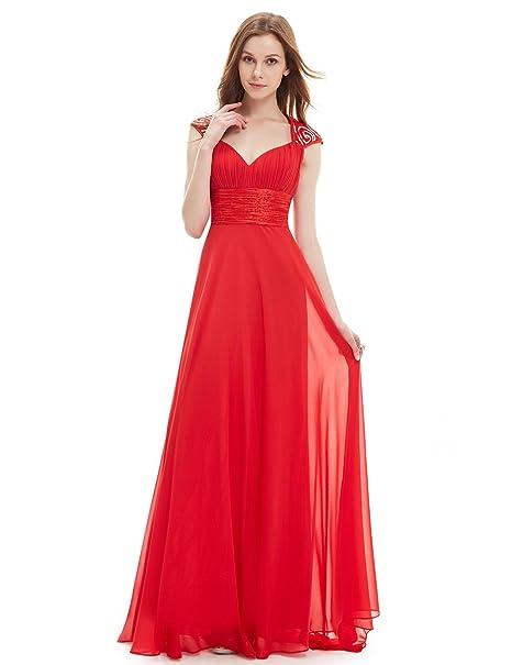 Vestido para mujer, de Ever-Pretty Rojo Bermellón 46