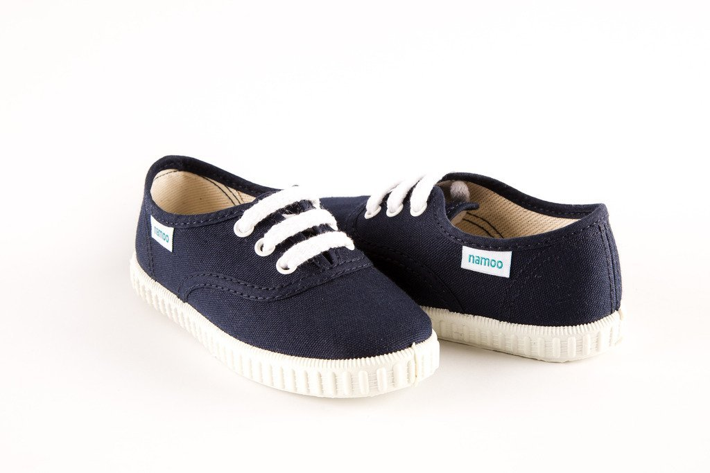 Namoo Kids Lace Sneaker for Boys and Girls, Cotton and Rubber Sole, Baby / Toddler / Kid Shoe (Navy) by Namoo (Image #3)