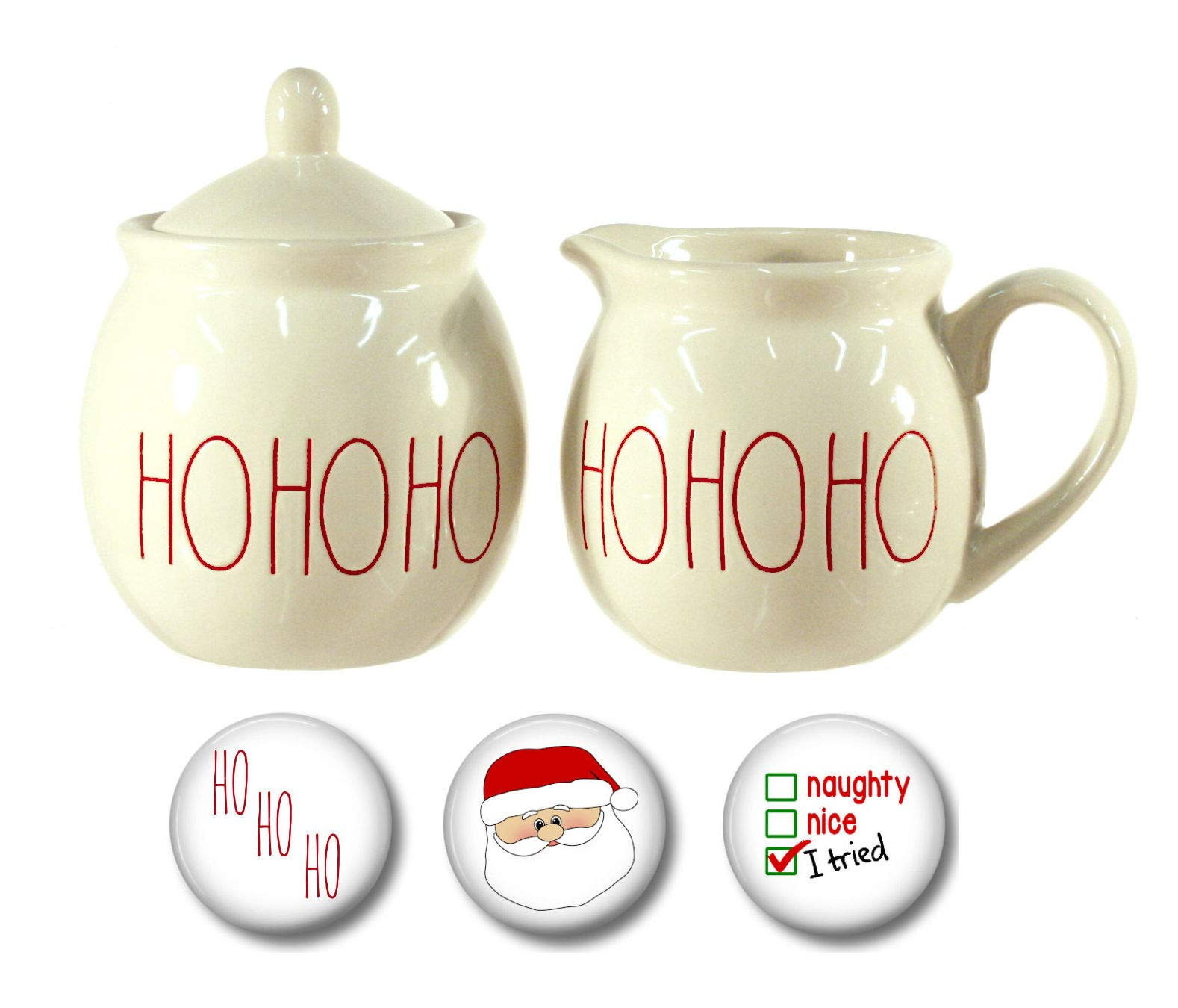 Rae Dunn Large Letter HOHOHO Christmas Cream Pitcher and Sugar Bowl with Three Coordinating Holiday Santa Magnets Gift Set Bundle