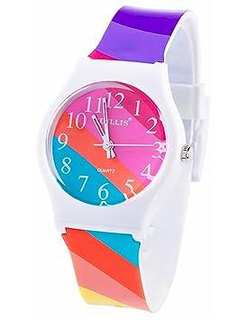 tonnier relojes banda de resina Super suave estudiante relojes para adolescentes chicas jóvenes (estrellada Hit Color rayas): Amazon.es: Deportes y aire ...
