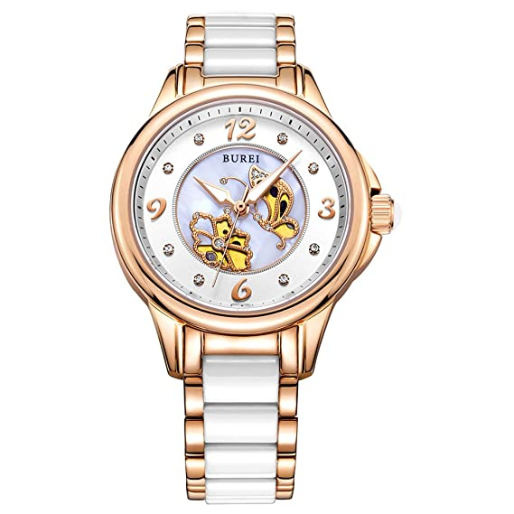 BUREI - Reloj de Pulsera para Mujer, con Esfera Blanca, Correa de cerámica,