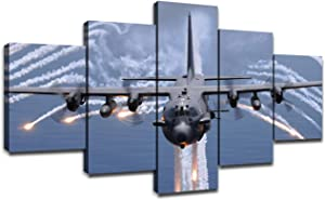 Military Attack Aircraft AC-130 Gunship United States Air Force Fighter Jet Pictures Wall Art Canvas Frame Art Home Decor 5 Panel Poster Living Room Decorations Paintings(60''Wx32''H)