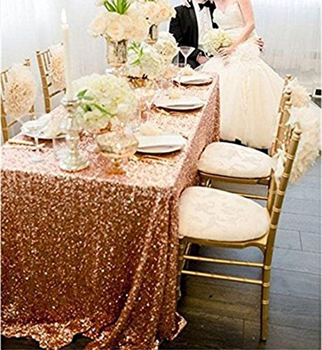 SoarDream 50x80 Inch Rose Gold Sequin Tablecloth Christmas/Wedding Table Cloth (Kitchen Table Accessories)
