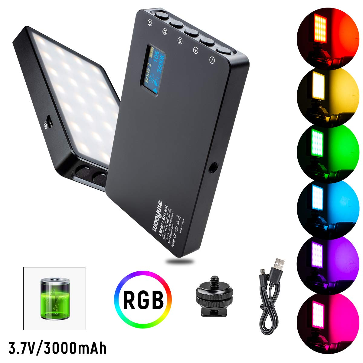 FULAIM RGB Photography LED Video Light w//12 Levels Adjustable Brightness 8 Color Temperature Modes 3000K-5750K Remote Control and Bulit-in Battery for Outdoor//Indoor Photo Shooting