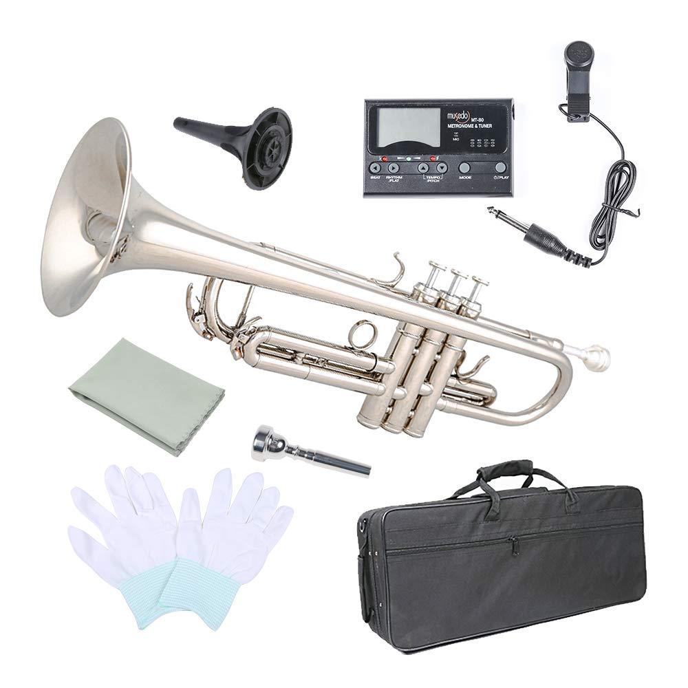 Trumpet Bb Flat, Les Ailes de la Voix Nickel Plated Brass Trumpet Includes Hard Case 7C Mouthpiece for Student Beginner by Les Ailes de la Voix