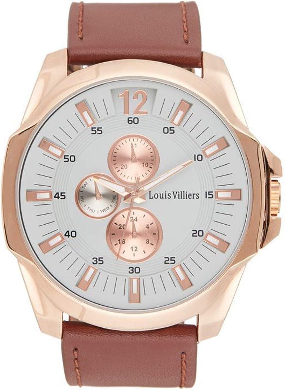 Louis villiers Reloj para Hombre Analógico de Cuarzo con Brazalete de Piel de Vaca LVW18066