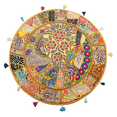 Stylo Culture Round Indian Cotton Large Floor Cushion Seating Cover Vintage Embroidered Patchwork Yellow 32