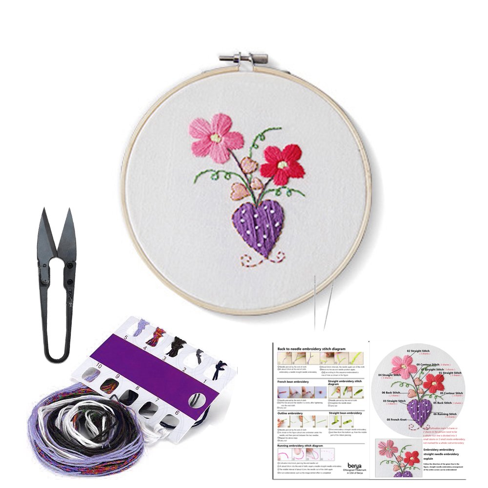 Full Set of Handmade Embroidery Starter Kit with Partten Cross Stitch Kit Including Embroidery Cloth,Bamboo Embroidery Hoop, Color Threads, and Tools Kit for Beginner Berya CO. LTD