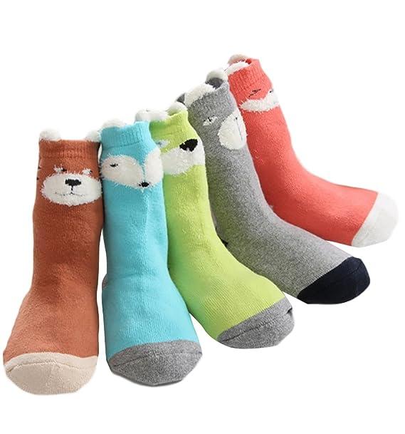 Insun 5 Pares Calcetines Antideslizantes para Bebé Niños Algodón Calentar Lindo 3D Oreja Calcetines: Amazon.es: Ropa y accesorios