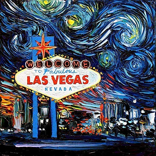 Las Vegas Sign Art poster print Starry Night van Gogh Never Saw Vegas Artwork by Aja choose size and type of paper