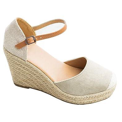 1233a240e Ermonn Womens Peep Toe Platform Wedge Sandals Espadrille Ankle Strap Mid  Heel Braided Sandals (6