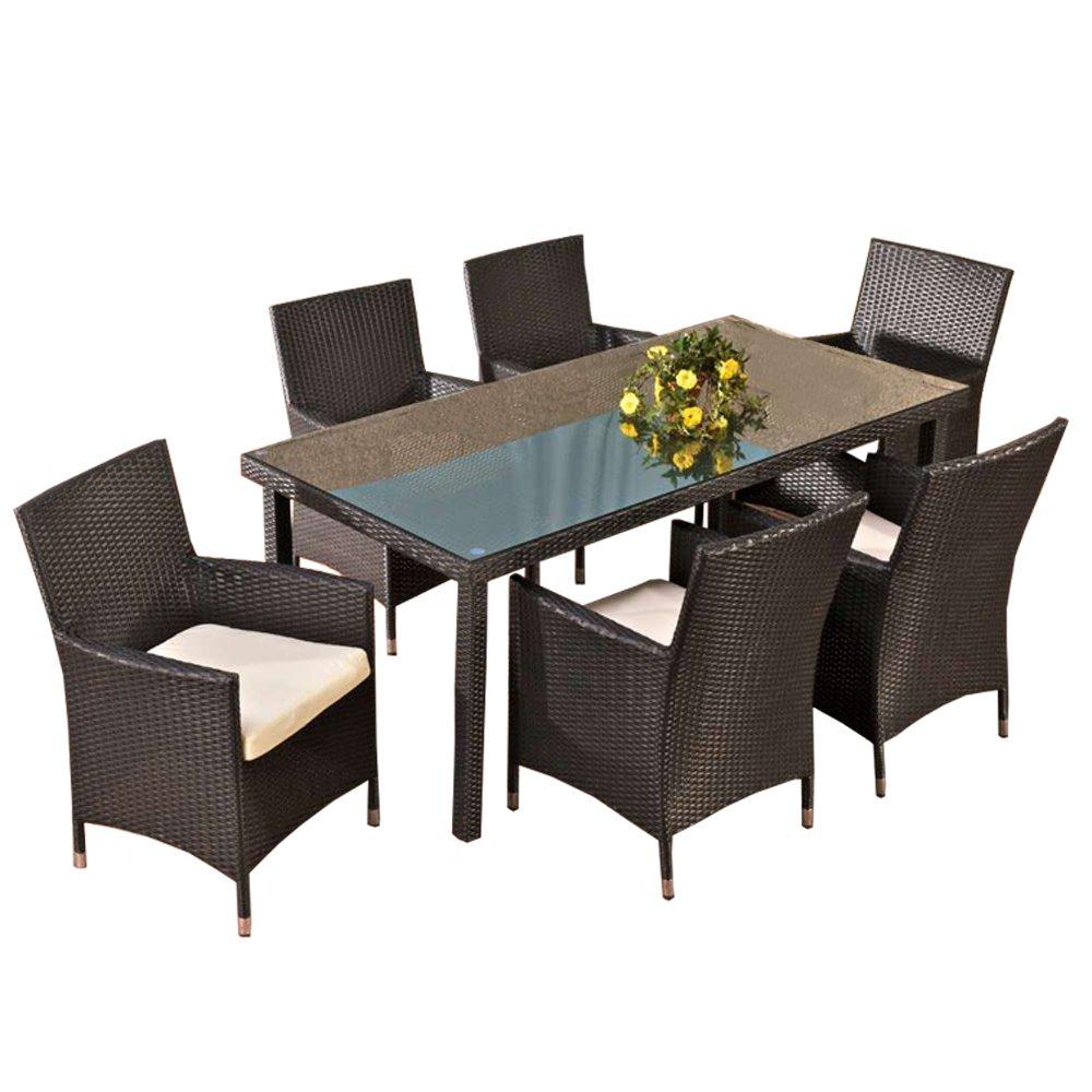 Sitzgruppe, Sitzgarnitur, Gartengarnitur Florenz, Polyrattan ~ schwarz