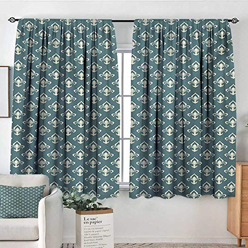 - Mozenou Fleur De Lis Custom Curtains Ancestral Vintage Motif Pattern Classical Ornaments Victorian Inspired Customized Curtains 55