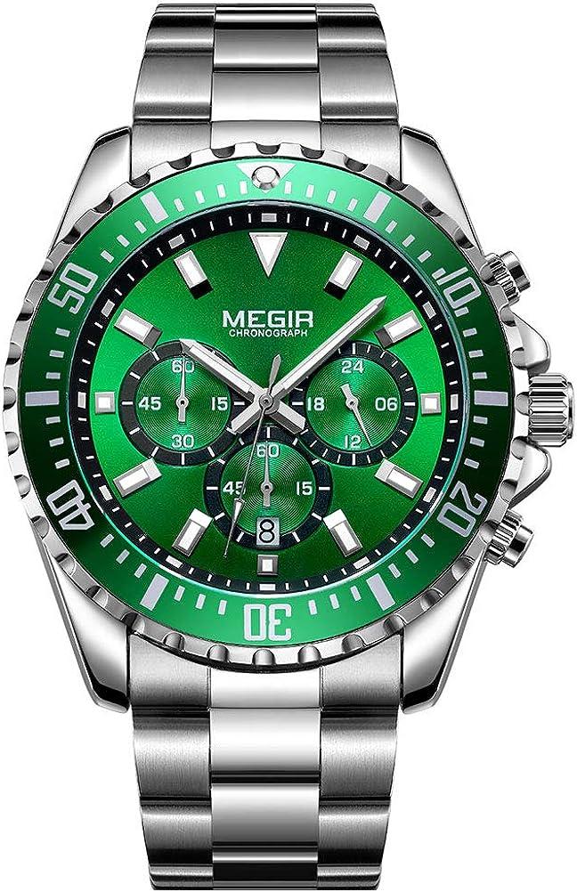 Reloj de Hombre Grande de Plata y Acero Inoxidable, Esfera Verde con cronógrafo, Resistente al Agua y con luz, Reloj para Hombres