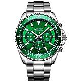 Reloj de hombre grande plateado con correa de acero inoxidable verde, esfera con cronógrafo, resistente al agua y…