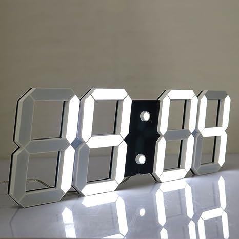 Chihai Silencioso multifuncional Jumbo LED Digital reloj de pared con mando a distancia, gran calendario