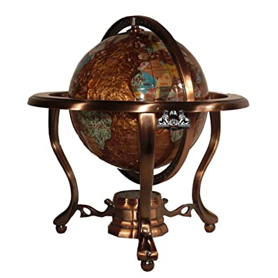 Unique Art 10-Inch Tall Table Top Amberlite Pearl Swirl Ocean Gemstone World Globe with Copper Tripod Stand: Home & Kitchen