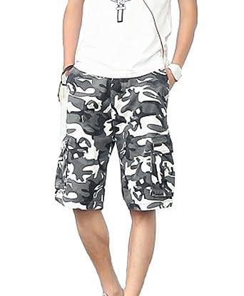 35fd01fa75 Tonwhar Mens Stretch Cargo Short Relaxed Fit Camo Short (31, black white  camo): Amazon.co.uk: Clothing