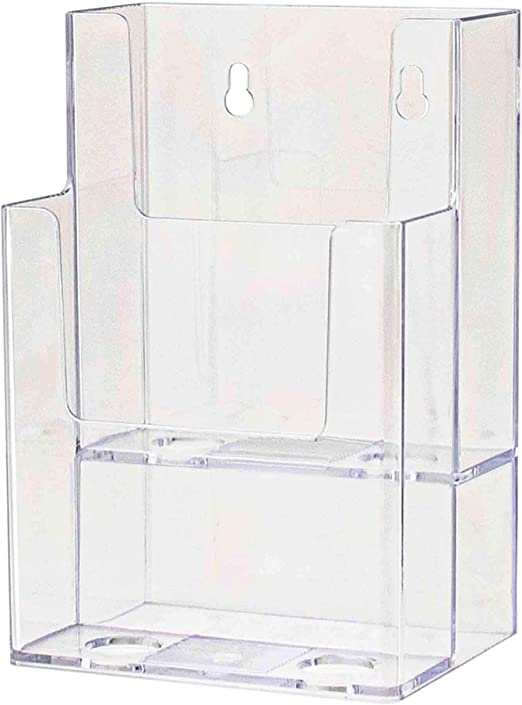 "Tiered 6""W Brochure /& Product Catalog Holder Clear Acrylic 4 Pocket"