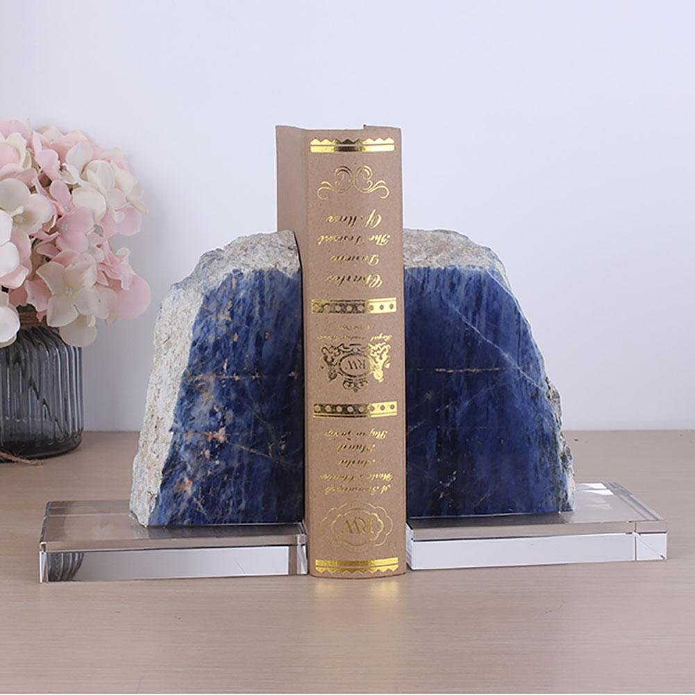 LPY-Set of 2 Agate Bookends Crafts, Book Ends for Office or Study Room Home Shelf Decorative by Crafts