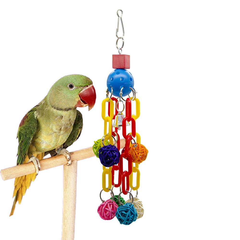 Pet Online Bird Toy Rattan Ball Plastic Chain Parred Stand Hanging String, 12×12×28cm