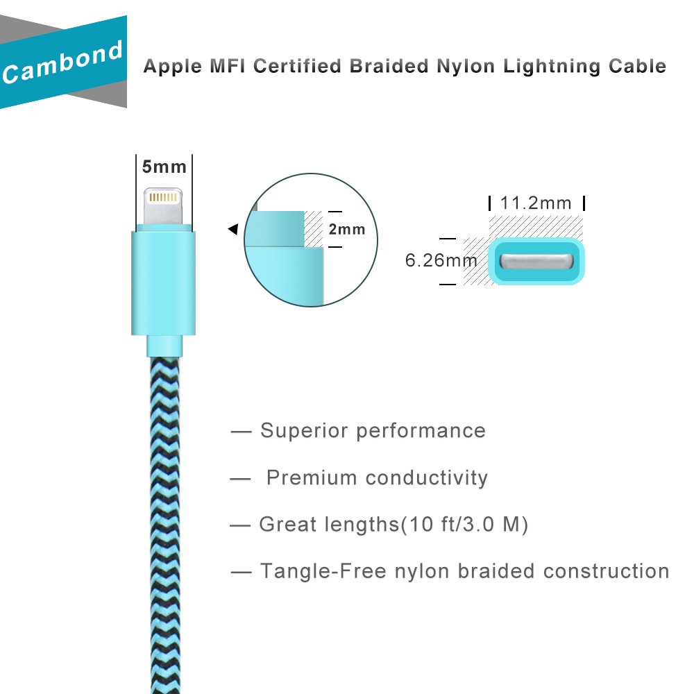 10ft Braided Apple Mfi Certified Lightning iPhone Cable (Blue)