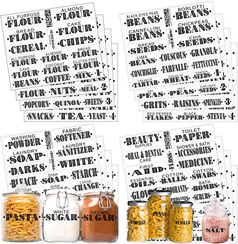 Pantry Bathroom Beauty Laundry Room Labels: 306 Classy Gloss Preprinted Water Resistant Complete Label Set to Organize Storage Containers, Jars, Canisters, Laundry & Closet w/Extra Write-on Stickers