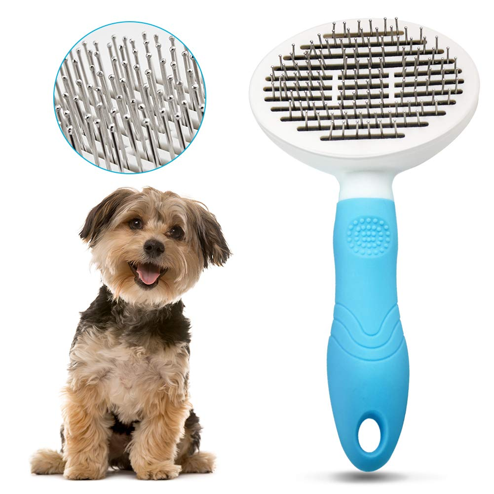 Dog Brush Cat Brush Dog Grooming Brushes Dog Hair Brush with Rounded Pin Comfortable Self Cleaning Pet Brush for Dogs and Cats with Long or Short Hair Blood Circulation Massage Skin-Friendly Blue