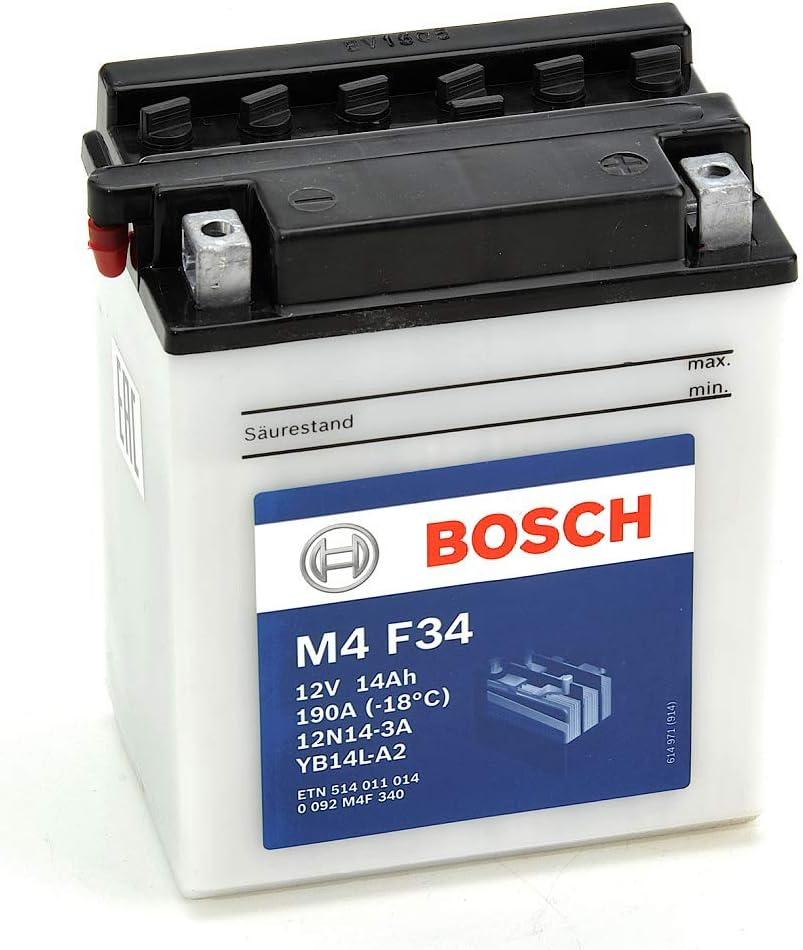 Bosch M4F34 Batería motocicleta 12N14-3A /  YB14L-A2 - 12V Plomo 14A/h-140A
