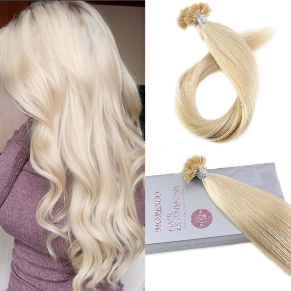 Moresoo 16 Inch Utip Fusion Hair Extensions Glue Hair Extensions 1 G/S 50 Grams Per Pack Stick Tip Hair Extensions Ash Blonde #18 Mixed with Bleach Blonde #613 Natural Human Hair Ltd