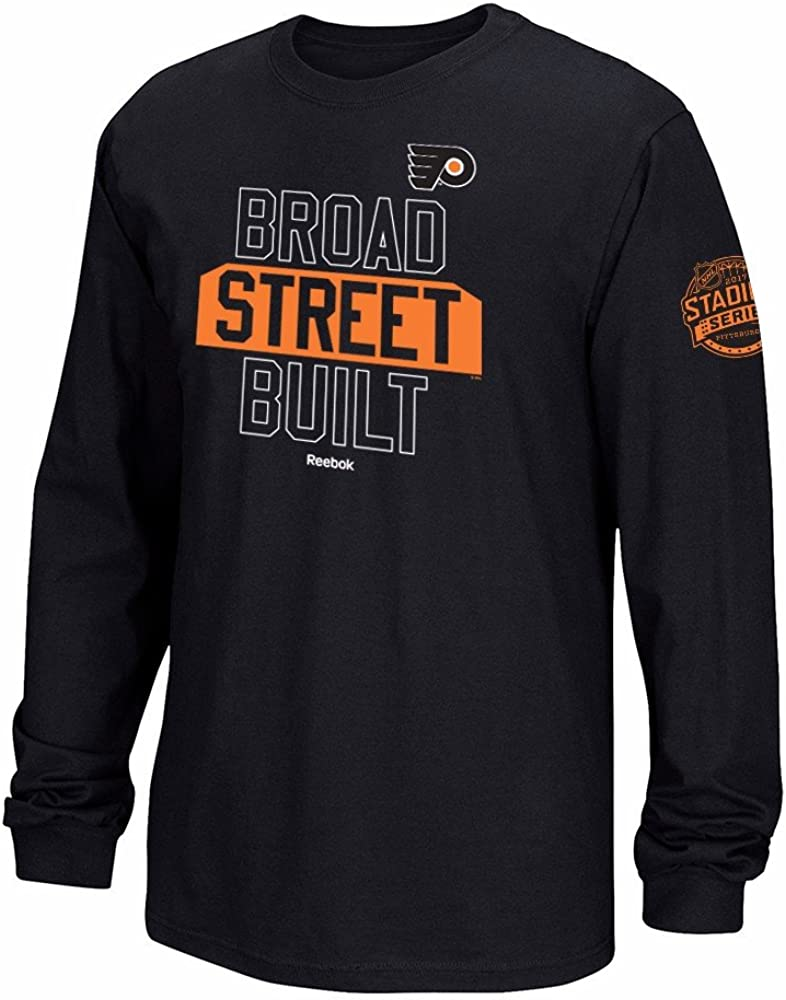 Reebok Philadelphia Flyers Black Split Logo Decision T-Shirt