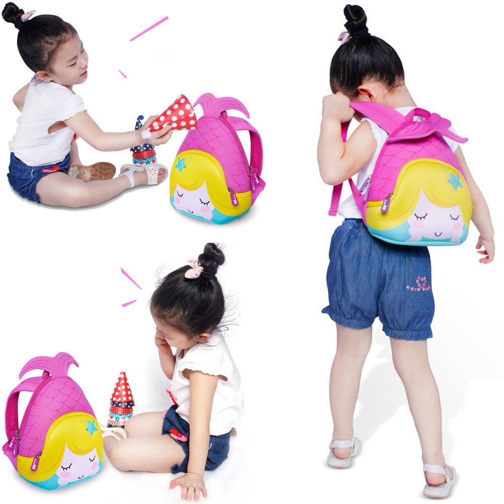 Niños Niños Escuela bolsas de viaje mochila de sirena impermeable azul 3D Idea de Regalo