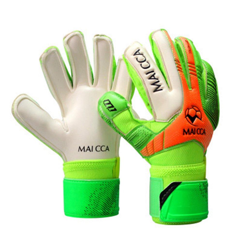 Professional Soccer Goalkeeper Glvoesラテックス指保護Fingerstall学校子供キッズサッカーゴールキーパーグローブ B0797VPBMCグリーン 7