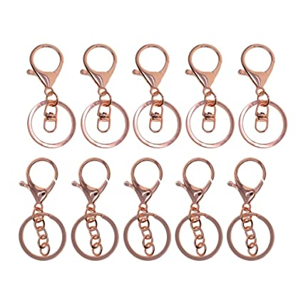 10pcs Lobster SWIVEL TIGGER Clasp Clips Keyring Key Chain Findings Rose Gold