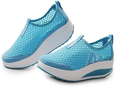 Memefood Zapatillas De Deportivos Cuña Para Mujer De Malla Para Correr Transpirable Zapatillas Aptitud Gimnasia Al Aire Libre Sneakers Plataforma De Running Ligero: Amazon.es: Ropa y accesorios
