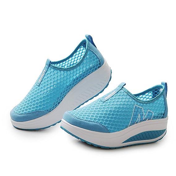 Memefood Zapatillas De Deportivos Cuña Para Mujer De Malla Para Correr Transpirable Zapatillas Aptitud Gimnasia Al