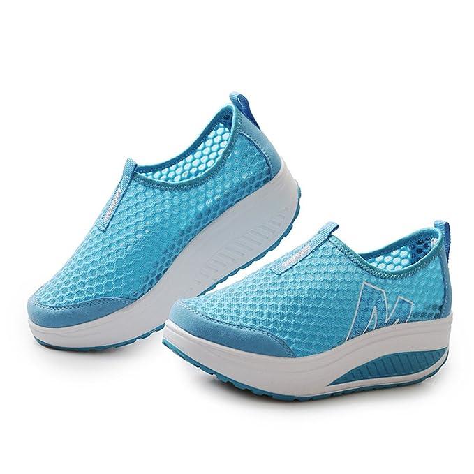 Memefood Zapatillas De Deportivos Cuña Para Mujer De Malla Para Correr Transpirable Zapatillas Aptitud Gimnasia Al Aire Libre Sneakers Plataforma De Running ...