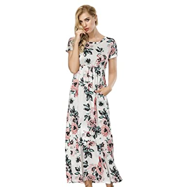fd326e357ef Femme Robe Longue Imprimée Floral avec Poche Robe Col Rond avec Manche  Courte Robe de Soirée