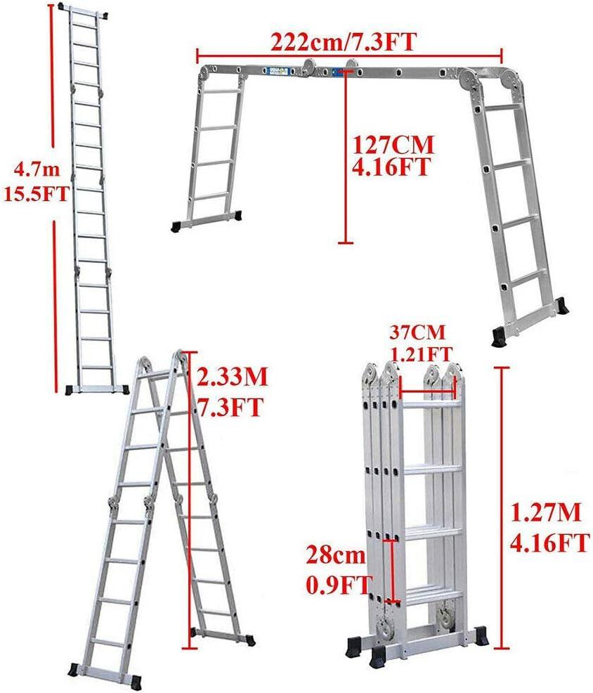 Leiter Mehrzweckleiter 4,7m Alu Haushaltsleiter klappleiter Multifunktion mit 1 Werkzeugablage bis 150 kg f/ür Zuhause//B/üro//DIY Malerei//Bau Job