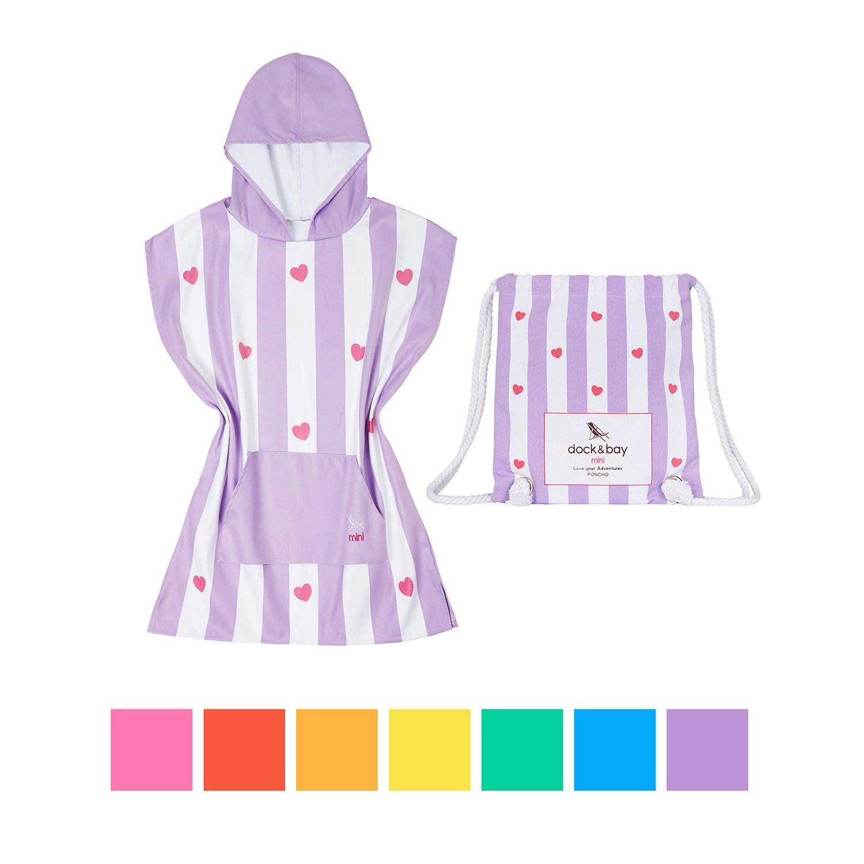 Dock & Bay Kids Poncho Microfiber towel (Purple Heart, Small) - child bath robe poncho includes drawstring bag