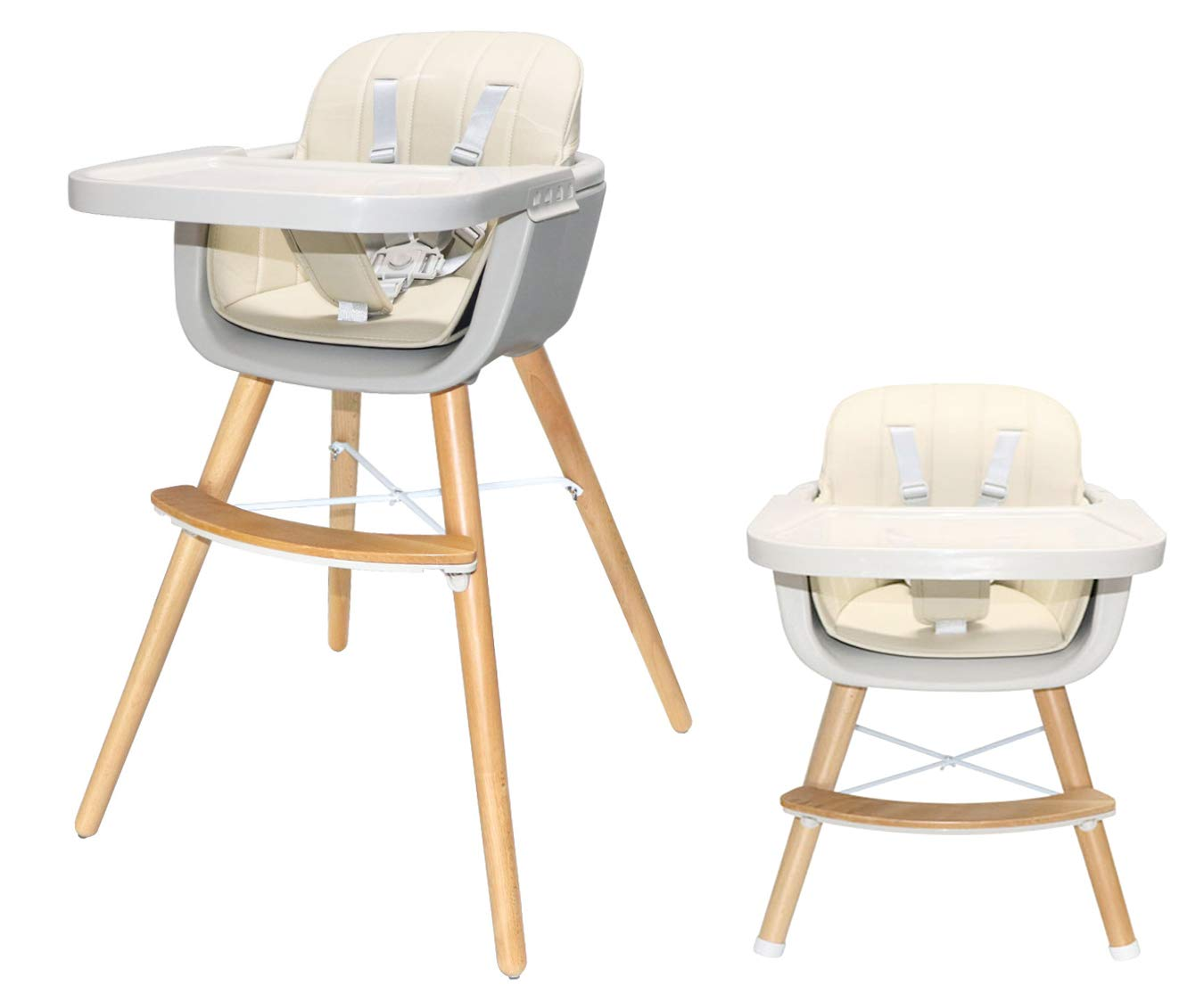 Amazon Com Asunflower Wood High Chair Toddlers 3 In 1 Convertible Modern Baby Highchair Solution For Babies And Infants With Cushion Baby