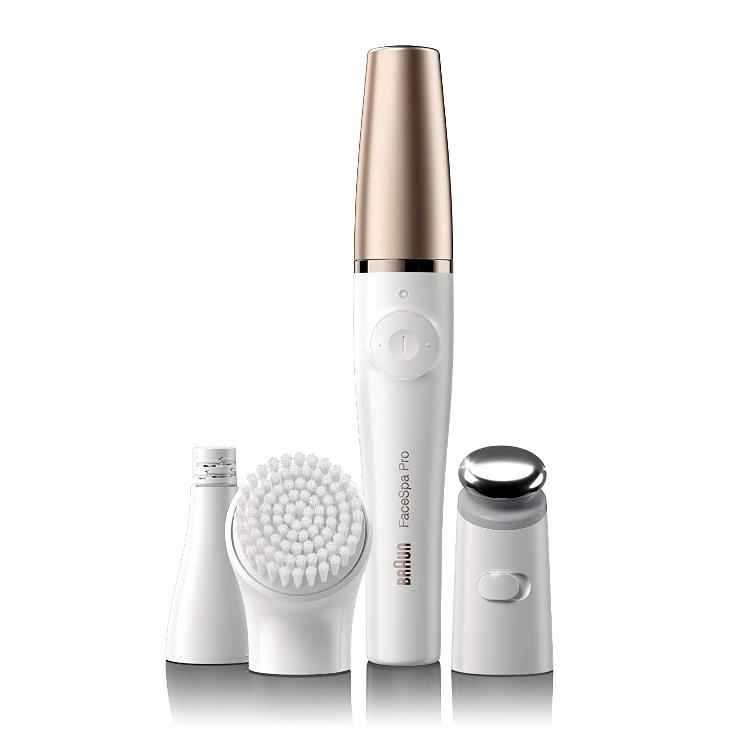 Braun Facial Hair Removal for Women, Facespa Pro 911 Facial Epilator for Women, White Bronze 3-in-1 Facial Epilating, Cleansing Skin Toning System for Salon Beauty At Home With 3 extras