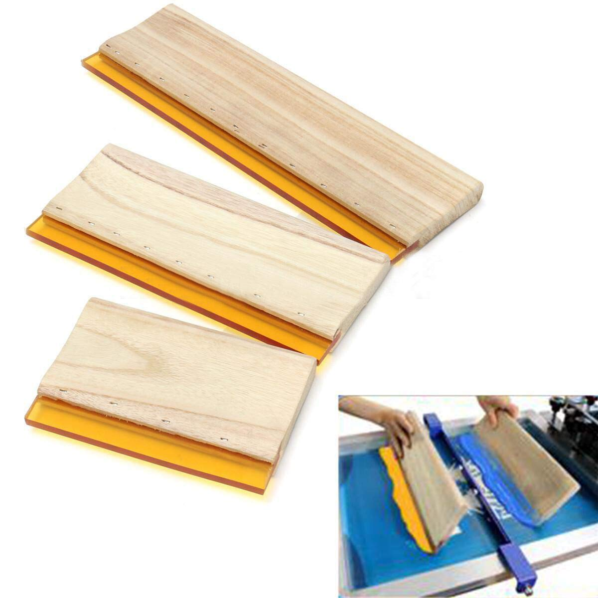 INTBUYING Screen Printing Squeegee Wooden Ink Scraper Kit 75 Durometer 4 inches Wide by INTBUYING