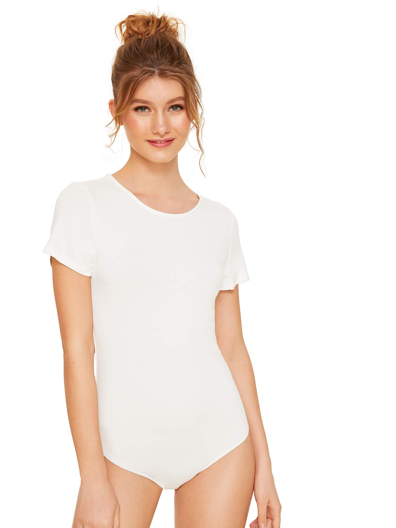 Makemechic Womens Basic Short Sleeve Stretchy Bodysuit Leotard Tops White M