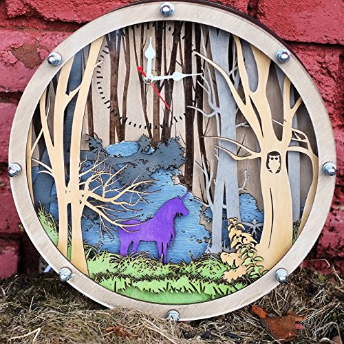 Unicorn 3D decorative wall clock with LED light HANDCRAFTED by WOODANDROOT Personalized, Housewarming, Nursery Wall Art, unique gift by WOODANDROOT