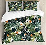 Twin Size Hawaii 4 piece Duvet Cover Set Bedspread, Colorful Palm Trees Tropical Plants with Botanical Inspirations, 4pcs Bedding Set for Kids/Childrens/Adults Decor, Fern Green Jade Green Orange