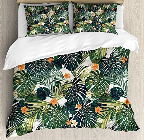 Twin Size Hawaii 4 piece Duvet Cover Set Bedspread, Colorful Palm Trees Tropical Plants with Botanical Inspirations, 4pcs Bedding Set for Kids/Childrens/Adults Decor, Fern Green Jade Green Orange by SunShine Day