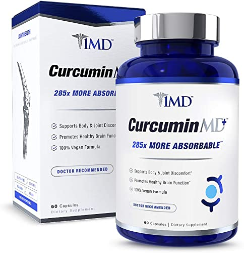 1MD CurcuminMD Plus – Turmeric Curcumin with Boswellia Serrata – 285x More Absorbable Joint Pain Relief, Anti-Inflammatory, Antioxidant Supplement 60 Capsules
